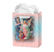 Large guardian angel gift bag for boy or girl with tag ribbon handles and tissue higb350l