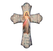 Divine mercy wall cross with flared ends and vintage look measures 12 inches high made of wood HI364123