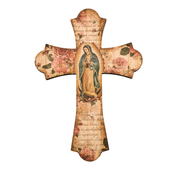 Our lady of guadalupe wall cross with flared ends and vintage look measures 12 inches high made of wood HI364221