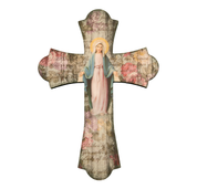 Our lady of the miraculous medal wall cross with flared ends and vintage look measures 12 inches high made of wood HI364253