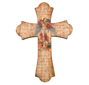 Saint michael wall cross with flared ends and vintage look measures 12 inches high made of wood HI364330