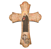 Saint benedict wall cross with flared ends and vintage look measures 12 inches high made of wood HI364645