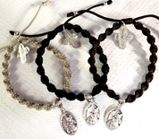 Guardian Angel with Children and St Michael Single Medal Cord Bracelet Available in 3 Colors