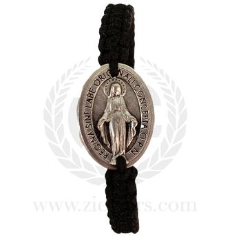 Miraculous Medal Black Corded Bracelet  Adjustable Sizing MJWMSBLK