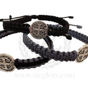 St Benedict Thick Corded Bracelet with Single Silver Toned Medal Available in 3 Colors MJWSBS
