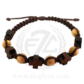 Wooden Crosses on thick Brown Cord Bracelet with Light Wooden Bead accents MJWWCOBR