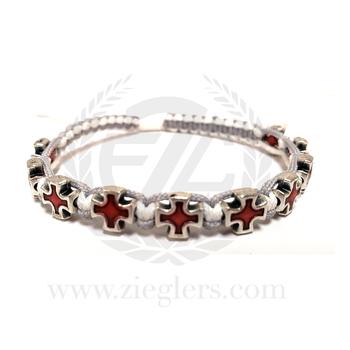 Red Enamel Cross Gray and White Corded Bracelet MJWCRWLG