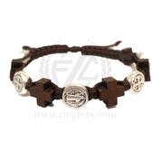 St Benedict Medal and Brown Wooden Crosses Brown Cord Bracelet MJWSBWCBR