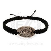 St Michael Single Medal Corded Bracelet Black MJWSMSBK Medjugorje