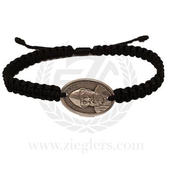 St Charbel Single Medal Corded Bracelet Black MJWSCSBK Medjugorje