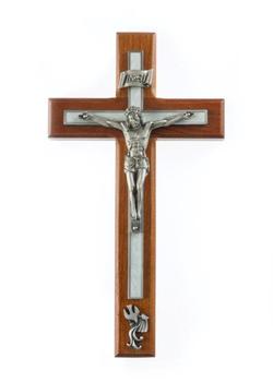 "Wall Crucifix Baptismal Cherry Wood Pewter Corpus and Baptismal Symbol 10"" JC5140E"