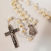 Our Lady of Fatima Rosary Cream Heart Beads LRE1646FA Italy