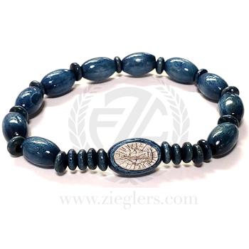 Miraculous Medal Bracelet Marian Blue Beads Elastic FAR3612501BL