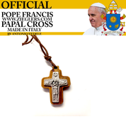 Official Pope Francis Papal Cross 1 inch made of olive wood and oxidized metal with brown cord image of Holy Spirit dove and good shepherd with sheep made in Italy G366