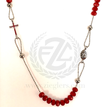 3 Decade Rosary Necklace Red Cut Beads Cross and Miraculous Medal Center F01075R