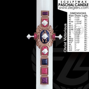 Christ Victorious Paschal candle select from 18 sizes 51 percent beeswax with embellished wax cross made in u s a by cathedral candle CC8060