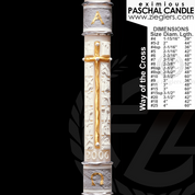 Way of the Cross Paschal candle with stations depicting passion select from 17 sizes  51 percent beeswax 7950