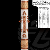 Made to Order Paschal Candle Luke 24 design For Easter by Cathedral Candle 51 percent beeswax Eximious collection in variety of size hand made