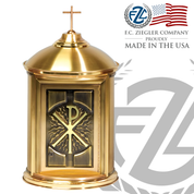 Tabernacle in all Brass with Chi Rho design on door Ziegler ZZ7200