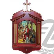 stations of the cross set of 14 prints on wood Withe elaborate frame and budded cross measuring 24 by 12 inches with keyhole slots for hanging made in italy LAL144