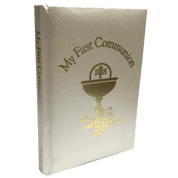 My First Communion Missal and Prayer Book soft ivory With Gold Embossing and ribbon marker measures 5 by 3 and 1 half inches RO10279