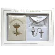 First-Communion-Missal-Set-white-Faux-leather-with-scapular-rosary-mass-book-and-lapel-pin