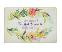 Faithful Stewards | Glass Cutting Board