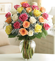 Assorted Roses In A Vase