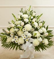 Heartfelt Tribute Floor Basket Arrangement [White]