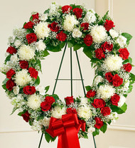 Red and White Serene Blessings Standing Funeral Flowers