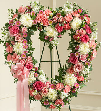Pink Always Remember Floral Heart Tribute Funeral Flowers