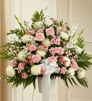 Pink and White Heartfelt Sympathies Standing Basket
