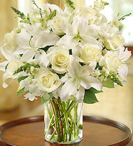 Classic All White Arrangement For Sympathy Funeral Flowers