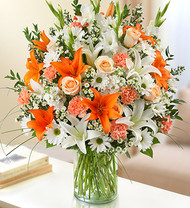 Peach, Orange and White Sincerest Sorrow Funeral Flowers