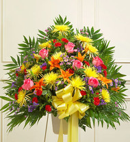 Bright Heartfelt Sympathies Standing Basket Funeral Flowers