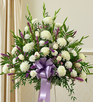 Hearfelt Sympathies Standing Basket Lavender Funeral Arrangement