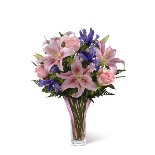 Pink Roses And Oriental Lilies