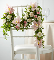 Orchid and Rose Chair Decoration