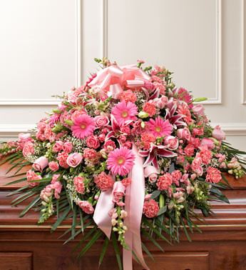 Cherished Memories Half Casket Cover In Pink