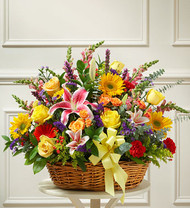 Bright Flower Sympathy Basket Arrangement