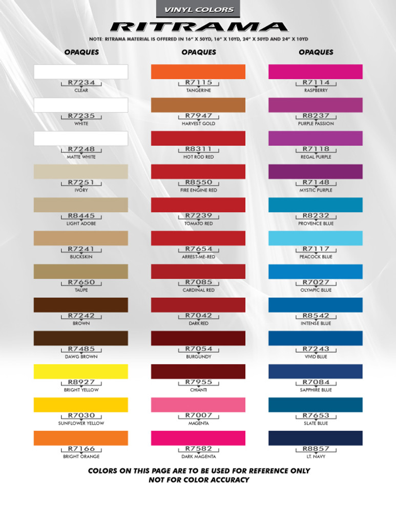 Ritrama Color Chart Page 1