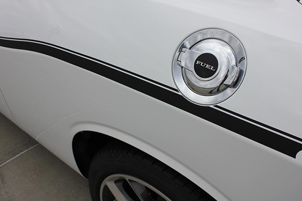 Dodge Challenger SXT Side Stripe Kit Gas Cover Close Up