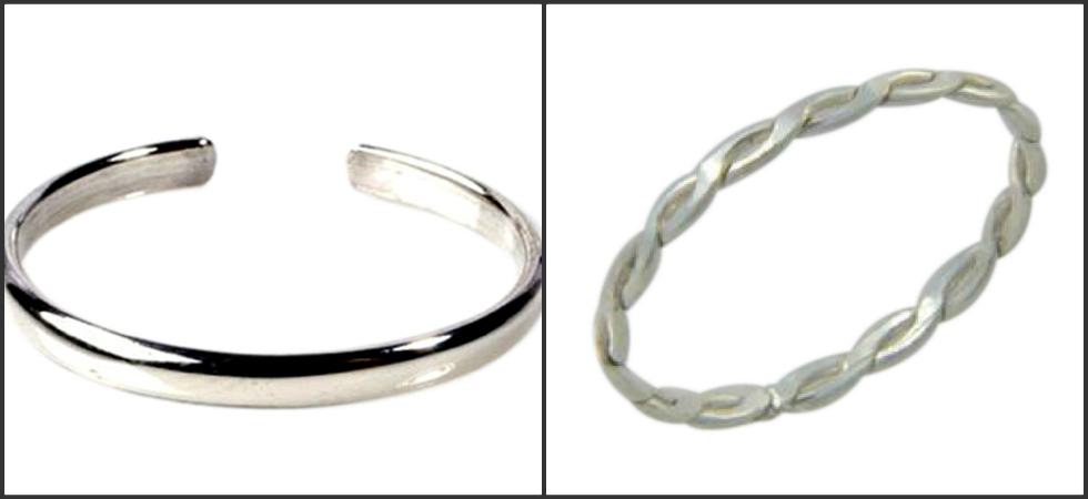 summer-time-plain bands adjustable and fitted braid sterling silver toe rings