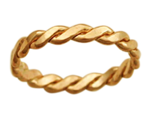14k gold braid band thumb ring