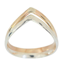 Sterling silver and 14k gold double chevron toe ring, midi ring