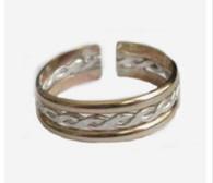 14k gold trio bands adjustable toe ring