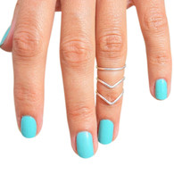 Sterling Silver Double Chevron V Midi Adjustable Rings/Toe Rings