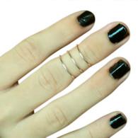 Sterling Silver 1mm 3 band Midi Adjustable Rings/Toe Rings