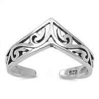 Sterling Silver Chevron V midi above the knuckle adjustable toe ring