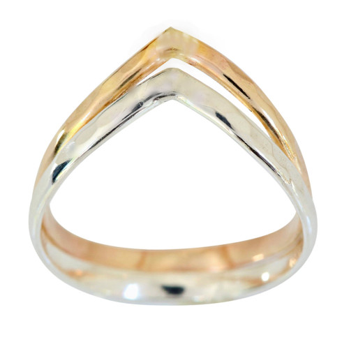 Sterling silver and 14k gold filled double chevron toe ring.  Handmade in the USA